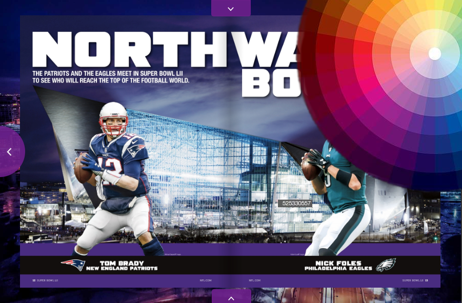 A Snapshot of the Super Bowl LIII program overlayed with a Color wheel