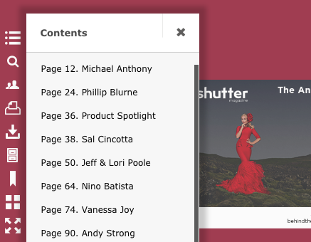 Image showing the contents menu from Shutter Mag